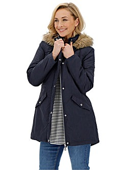 Navy Faux Fur Trim Lightweight Parka