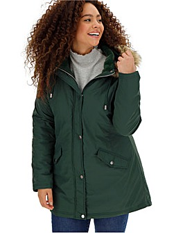 Forest Green Faux Fur Trim Lightweight Parka
