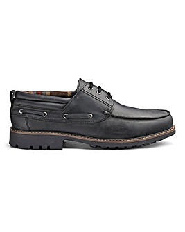 Leather Cleated Casual Shoe Extra Wide Fit