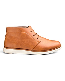 Leather Look Chukka Boots Wide Fit