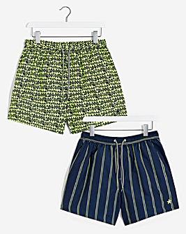 2 Pack Classic Stripe / Geo Swimshort