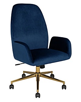 Clarice Velvet Office Chair - Blue
