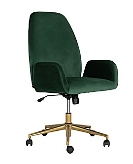 Habitat Clarice Velvet Office Chair - Green