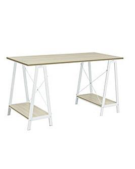 Trestle Table Office Desk - White