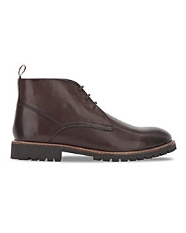 Dark Brown Rugged Leather Boot Wide Fit