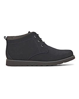 Dark Navy Leather Nubuck Boot Wide