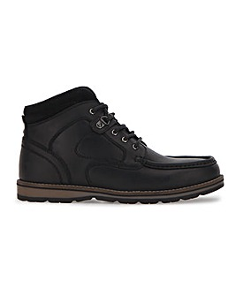 Black Leather Worker Boot Wide