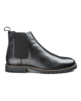 Leather Cleated Chelsea Boots Extra Wide Fit