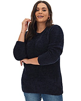 Navy Teddy Yarn Crew Neck Jumper