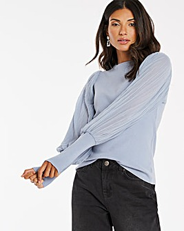 Woven Pleated Puff Sleeve Jumper