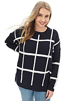 Navy/Ivory Cosy Grid Check Jumper