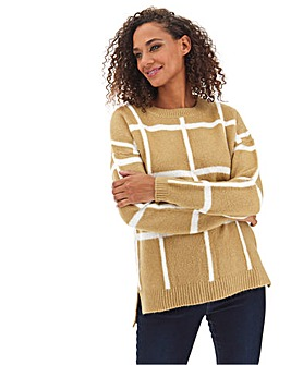 Camel/Cream Cosy Grid Check Jumper