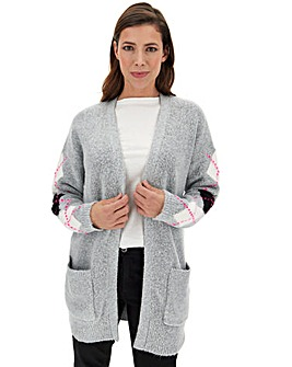 Grey Cosy Argyle Edge to Edge Cardigan