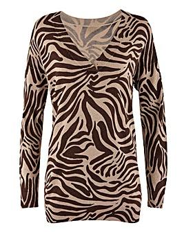 Zebra Slouchy V Neck Tunic