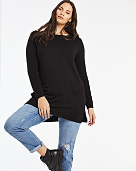 Black Slash Neck Pocket Tunic