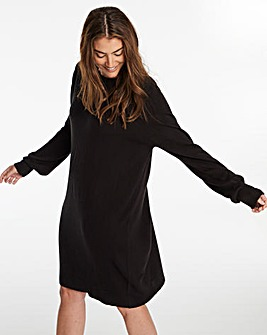 Cashmere Like Crew Neck Sweater Dress