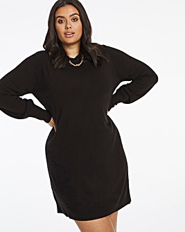 Cashmere Like Crew Neck Sweater Dress