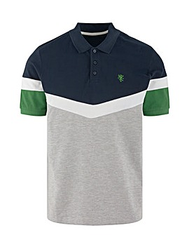 Chevron Cut & Sew Colour Block Polo Long