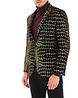 Black/Gold Foil Snake Print Regular Fit Party Blazer