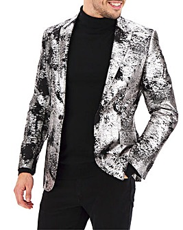 Black/Silver Metallic Print Regular Fit Party Blazer