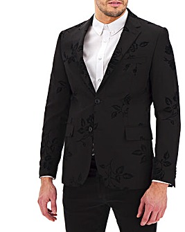Black Flock Print Regular Fit Party Blazer