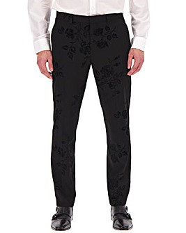 Black Flock Print Regular Fit Party Trousers