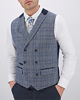 Blue Check Roddie Regular Fit Double Breasted Waistcoat