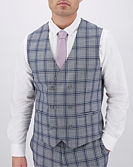 Grey Check Maurice Regular Fit Double Breasted Waistcoat