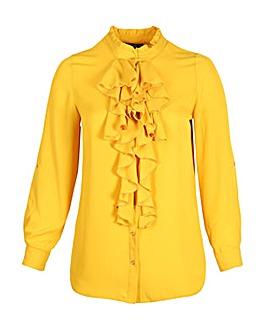 Lovedrobe GB Mustard Frill Front Blouse