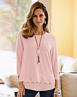 Together Lace Trim Layered Jumper