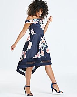Quiz Curve Floral Bardot Dip Back Dress