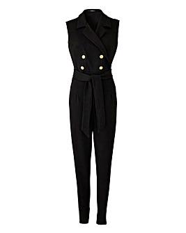 Quiz Curve Gold Button Tuxedo Jumpsuit