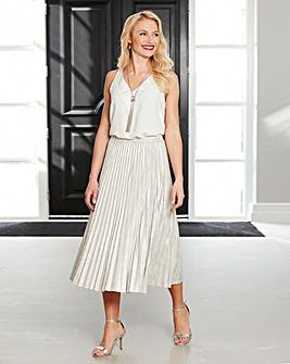 Joanna Hope Metallic Pleated Skirt