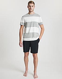 Grey Stripe T-Shirt And Short Set
