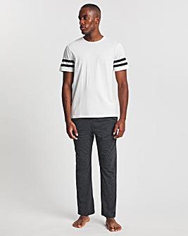 White/Charcoal Stripe T-Shirt And Pant Set