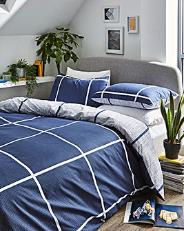 Tait Navy Check Printed Reversible Duvet Set
