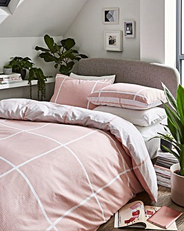Tait Pink Check Printed Reversible Duvet Set