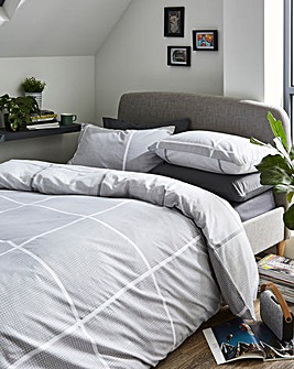 Tait Grey Check Printed Reversible Duvet Set