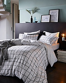 Hampton Check Reversible Printed Duvet Set