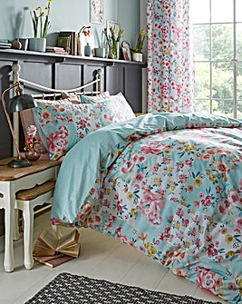 Catherine Lansfield Flower Patchwork Reversible Duvet Set
