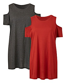 Pack of 2 Cold Shoulder T-Shirts