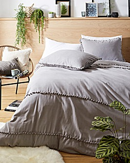 Appletree Paignton Pom Pom Brushed Cotton Duvet Set