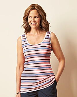 Value Cotton Multi Stripe Vest Top