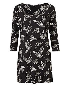 Black Floral Value Cotton Tunic