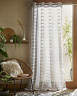 Antigua Linen Effect Stripe Voile Panel
