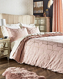 Zita Blush Metalic Jacquard Duvet Set