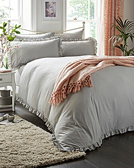 Simply Soft Ruffle Grey Duvet Set