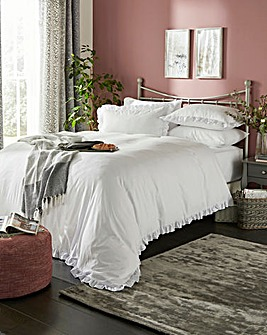 Simply Soft Ruffle White Duvet Set