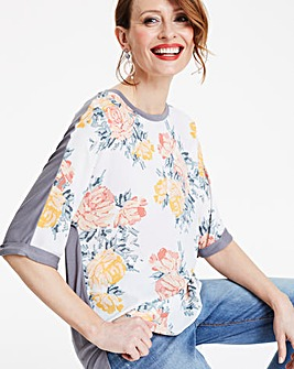 Floral Print Woven Front Tshirt