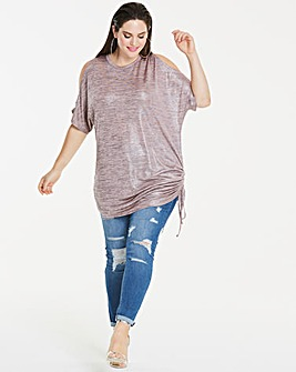 Cold Shoulder Metallic J Top